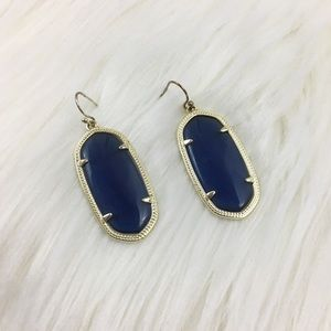 Kendra Scott Elle Navy Blue Gold Frame Earrings